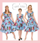 Hearts and Roses London Dress Blue Pink and Cream Floral 50s Inspired Swing Dress with Cap Sleeves and Sweetheart Neckline - Jolene