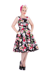 SALE Black and White Monochrome Floral Dress SIZE 8 ONLY