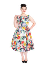 SALE Pastel Floral 50 s Vintage Style Dress - Annabelle SIZE 10 ONLY