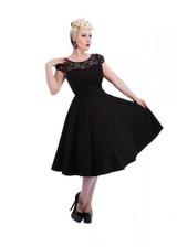 SALE Black Dress with Black lace Trim 50 s Vintage Style Dress SIZE 8 ONLY