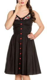 SALE Hell Bunny Black Dress with Embroidered Cherries 50s Inspired Vintage Dress SIZE 8 ONLY