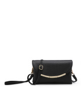 Cross Body Bag with Detachable Wrist Strap and Shoulder Strap - Black