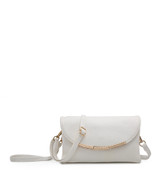 Cross Body Bag with Detachable Wrist Strap and Shoulder Strap - White