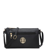 Double Compartment Cross Body Bag with Zip Top and Shoulder Strap - Black