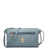 Double Compartment Cross Body Bag with Zip Top and Shoulder Strap - Blue