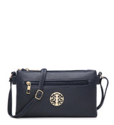 Double Compartment Cross Body Bag with Zip Top and Shoulder Strap - Dark Blue