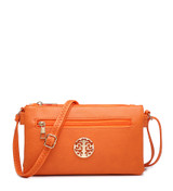 Double Compartment Cross Body Bag with Zip Top and Shoulder Strap - Orange