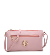 Double Compartment Cross Body Bag with Zip Top and Shoulder Strap - Pink