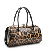 Double Handle Patent Leopard Print Handbag with Detachable Shoulder Strap - Brown