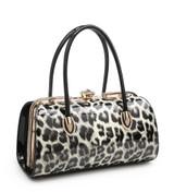 Double Handle Patent Leopard Print Handbag with Detachable Shoulder Strap - Black