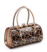 Double Handle Patent Leopard Print Handbag with Detachable Shoulder Strap - Gold