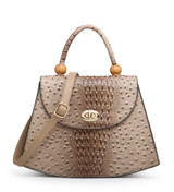 Faux Ostrich Skin Tote Bag with Bead Embellishment and Detachable Shoulder Strap - Yellow
