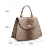 Faux Ostrich Skin Tote Bag with Bead Embellishment and Detachable Shoulder Strap - Black
