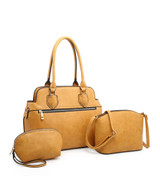 3 Piece Handbag Set with Detachable Shoulder Strap - Yellow