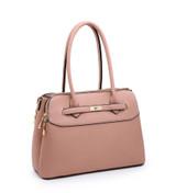 Multi Compartment Handbag with Detachable Shoulder Straps - Brown