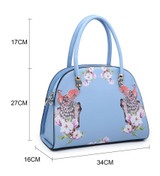 Double Handled Peacock and Floral Embellished Vintage Style Tote Bag with Detachable Shoulder Strap - Blue