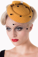 Vintage Style Pill Box Hat Fascinator with Pearl Bow and Black Polka Dot Veil - Mustard