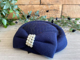 Vintage Style Pill Box Hat Fascinator with Pearl Bow and Black Polka Dot Veil - Navy