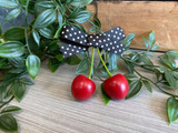 Rockabilly Style Hairclip with Red Cherries and Polka Dot Bow - Black and White