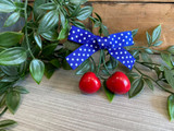 Rockabilly Style Hairclip with Red Cherries and Polka Dot Bow - Blue and White