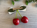 Rockabilly Style Hairclip with Red Cherries and Polka Dot Bow - White and Black