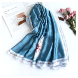 Pretty Floral Vintage Style Soft Touch Scarf blue