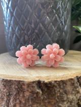 Handmade Resin Flower Earrings with Stainless Steel Clip On Back - Peach