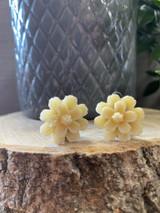Handmade Resin Flower Earrings with Stainless Steel Clip On Back - Cream