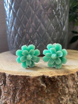 Handmade Resin Flower Earrings with Stainless Steel Clip On Back - Green