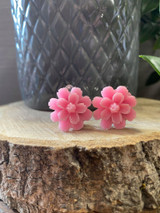 Handmade Resin Flower Earrings with Stainless Steel Clip On Back - Pink