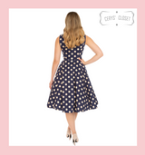 Navy and Cream Polka Dot 50s Vintage Inspired Swing Tea Dress by Hearts and Roses at Cerys' Closet