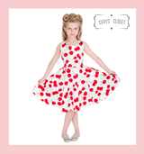 Hearts and roses london childrens dresses 50S VINTAGE INSPIRED RED CHERRY AND WHITE SLEEVELESS CHILDRENS SWING DRESS