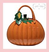 Orange Patent Pumpkin Handbag with Detachable Shoulder Strap at Cerys' Closet