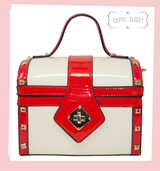 Red and Off White Patent Treasure Chest Shaped Handbag with Gold Studded Detail and Detachable Shoulder Strap