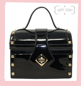 Black Patent Treasure Chest Shaped Handbag with Gold Studded Detail and Detachable Shoulder Strap at Cerys' Closet