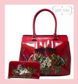 Double Handle Patent Handbag with Love Birds and floral scene and Patent Bow with detachable shoulder strap and matching Purse - Red