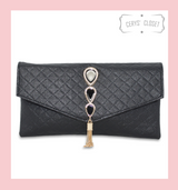 Quilted Clutch with Peacock Inspired Jewelled Art Deco Detail Gold Tassel and Shoulder Strap - Gold