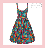 Collectif Jemima Tropico Multi-coloured Summer Swing Dress with Straps and Button Detail
