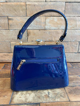 40S AND 50S CLASSIC TRAPEZOID SHAPED PINUP ROCKABILLY VINTAGE INSPIRED SHINY PATENT CLASSIC STYLE HANDBAG - NAVY