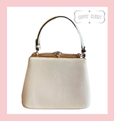 40S AND 50S CLASSIC TRAPEZOID SHAPED PINUP ROCKABILLY VINTAGE INSPIRED SHINY PATENT CLASSIC STYLE HANDBAG - IVORY