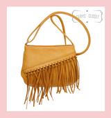 Tassel Saddle Bag with Adjustable Shoulder Strap - Mustard
