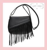 Tassel Saddle Bag with Adjustable Shoulder Strap - Black