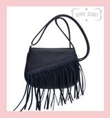 Tassel Saddle Bag with Adjustable Shoulder Strap - Navy