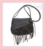 Tassel Saddle Bag with Adjustable Shoulder Strap - Grey