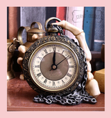 About Time Skeleton Hand with Pocket Watch Freestanding Clock