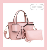 Double Handle Bow Tote with Detachable Shoulder Strap and Coin Purse - Pink