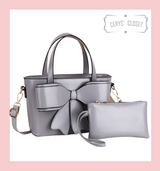 Double Handle Bow Tote with Detachable Shoulder Strap and Coin Purse - Grey