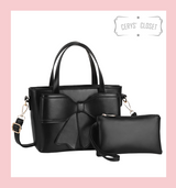 Double Handle Bow Tote with Detachable Shoulder Strap and Coin Purse - Black
