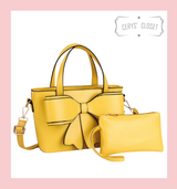Double Handle Bow Tote with Detachable Shoulder Strap and Coin Purse - Yellow