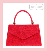Lace Covered Envelope Tote Bag with Single Top Handle and Detachable Shoulder Chain - Red